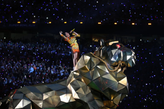 Katy Perry during the Super Bowl 2015 half time show