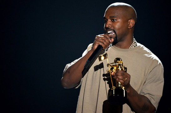 Kanye West with his MTV Vanguard award
