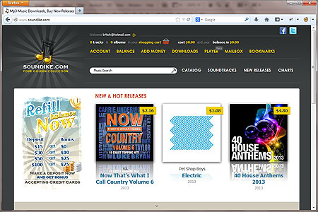 Screenshot of soundike.com home page